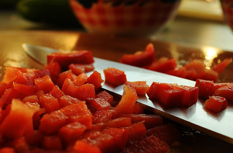 tomato is cut in pieces